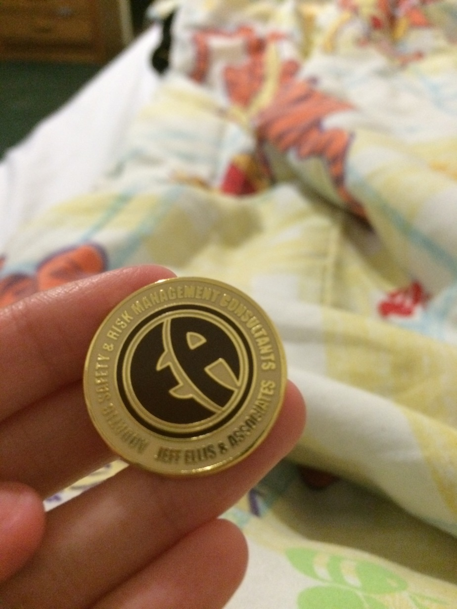 I got an Ellis Associates pin for getting perfect on both my written and individual practical exam!
